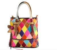 Hot!!100% Genuine Leather Shoulder Bags Colorful Patchwork Bags For Woman Fashion Flower Handbags Women Messenger bag 87070