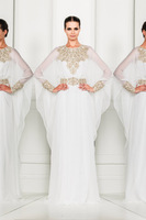 Custom-made Long Sleeve Beading Chiffon Zuhair Murad Evening Dress Kaftan Dress