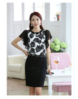 Free shipping 2014 summer snow spins unlined upper garment the new printed black and white color chiffon blouse. S - XL