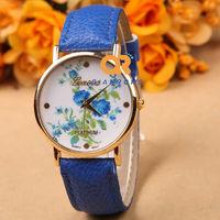 28 Designs Hot Selling Leather Rose fashion Flower Geneva Women Dress Quartz wrist Watches frees shipping G-8018#