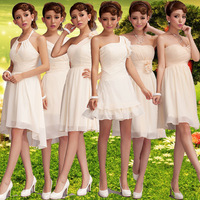 2014 the latest fashion bridesmaid dresses champagne color,6 style you can choose