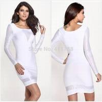 New Arrive 2014 Women's Fashion long sleeve White Bodycon Pencil Dresses Ladies