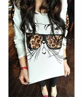 New Fashion Leopard tops for Women Trendy Glasses Kitten blusas femininas Applique tshirt Bespectacled Cat Printed Tee White
