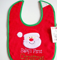 FREE SHIPPING/Hot Selling Christmas Baby Cartoon Waterproof Clothing BibTerry cloth printing waterproof bib bib