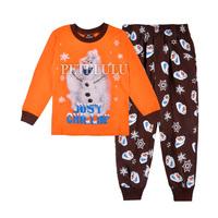 frozen Olaf Snowman girls boys full sleeve pajamas 2014 children t-shirts+pants clothing set kids cotton knitted pyjamas orange