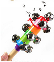 2pcs/lot Baby Rainbow Toy Kid Pram Crib Handle Wooden Activity Bell Stick Metal Shaker Rattle For 0-36Months