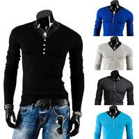 Wholesale Men's V-neck Long-sleeved T-shirt T-Shirt Decorative Buttons Sanding Men Sport Shirt , TX217