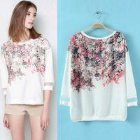 [B-605] New 2014 blusas Three Quarter Sleeve Flower Print Chiffon Tops shirt Women Blouse