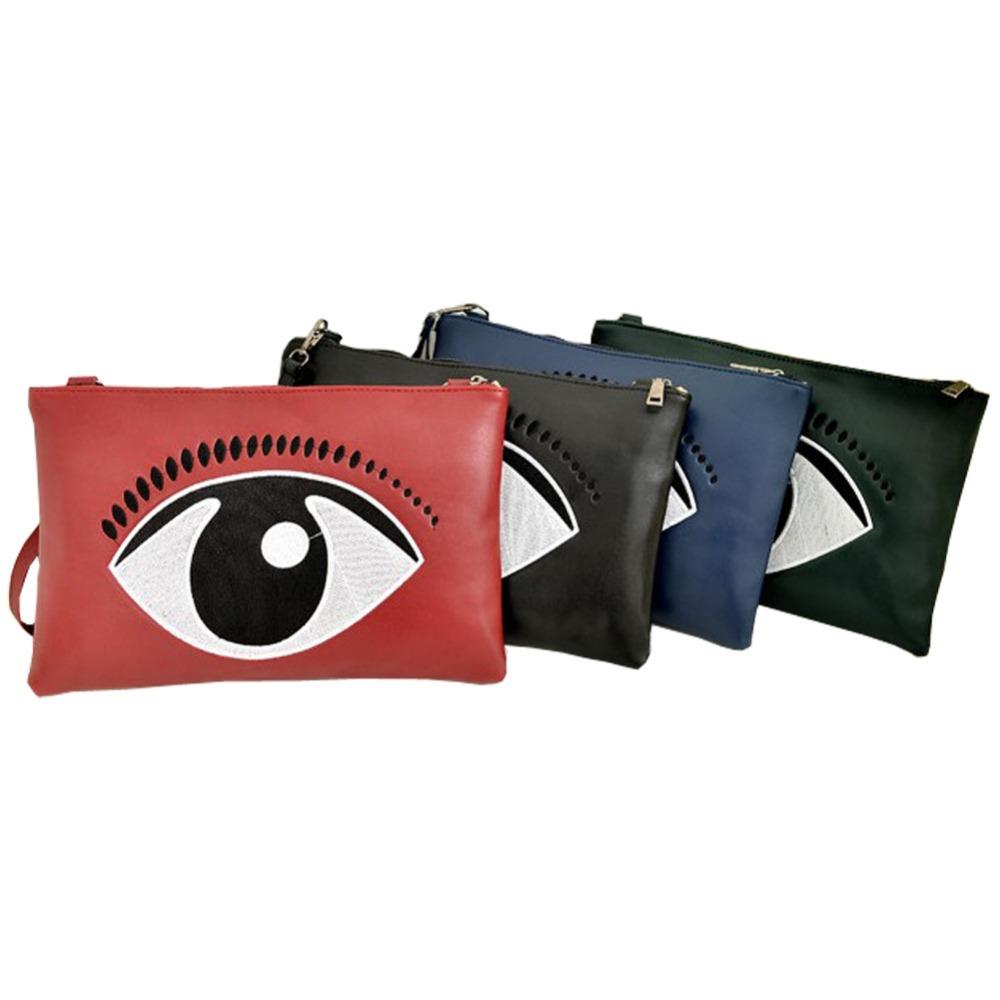 2014 Fashion Designer Women PU Leather Day Clutch Women's Novelty Eye Print Purse Key Wallet Leadies Evening Party Handbag Bags(China (Mainland))