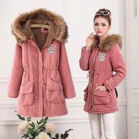 winter coat women 2014 Winter new Korean women hooded long section cotton padded XS-XXL the face jacket women