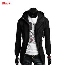 Men's Slim Fit Zip Button Line Hoody Hoodie Military Rider Jacket Coat(China (Mainland))