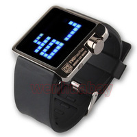 Waterproof TVG Blue LED Watch Black Silicone Men Women Xmas Gift Box L8861