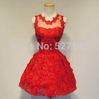 2014 New Korean shoulders petals bridesmaid dresses,red and ch