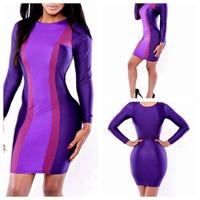 2014 New Vestidos Summer New Fashion Women Patchwork Purple High Waist Bodycon Bandage Dress Celebrity Midi Casual Dresses