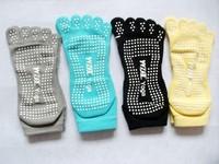 C30 2014Separate Toe Socks Five Fingers Yoga Socks Fulltoe Grip Yoga Toe cotton Sock Massage Dots Nonslip Exercise antiskid sock