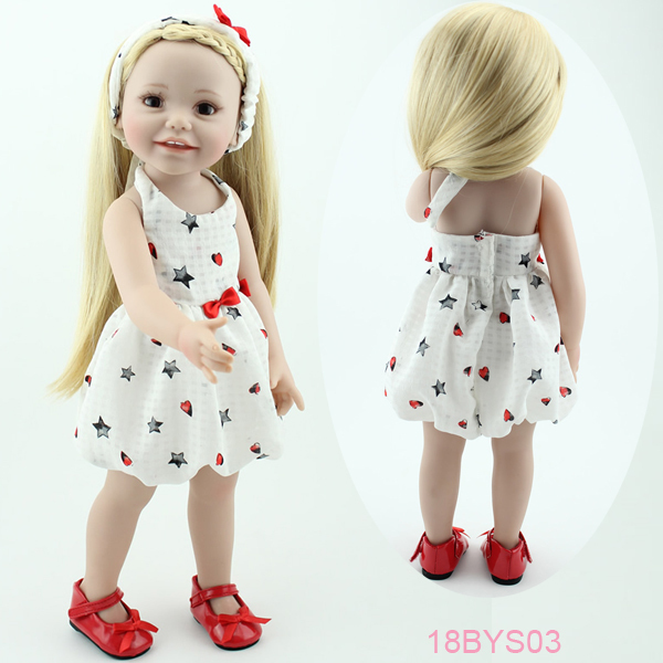 18 inch Smiling full vinyl American girl doll standing sitting real baby doll handmade lifelike baby gift(China (Mainland))