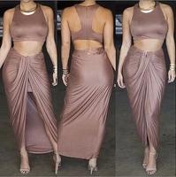 2014 New Vestidos Summer New Fashion Women Irregular High Slit Ankle Length Bodycon Bandage Dress Celebrity Midi Casual Dresses