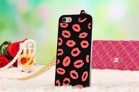 Free shipping! Fashion colorful lips electroplated surface hard Back Cover protective Case with metal chain For iPhone 5 5G 5S
