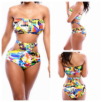 Brand Vintage Flower Print Women Beach Clothing Set Triangl Strapless Bow Embellished Bandeau Cut Out Hot Sexy Bikini Swimwear