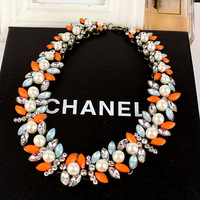 New Vintage Z*A Style Antique Gold Plated Alloy White Pearl Flower Rhinestone Colorful Crystal Statement Choker Necklace