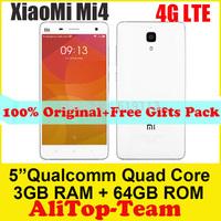 "Original Xiaomi Mi4 Quad Core Xiaomi M4 Mobile Phone 5"" Qualcomm Snapdragon 801 1920X1080P JDI 3GB RAM 16G ROM 8MP/13MP  GPS"