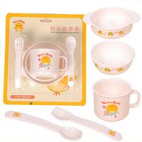 Children's Cartoon Chicken Tableware Infants Baby Tableware Five Groups Microwave Applicable Tableware