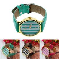 Scolour New Classic Stripes Print PU Leather Woman Man Analog Quartz Wrist Watch