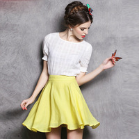 Sweet Women Skirt Clothing Set Cotton Blends Short Sleeve White Top Clothes + Yellow Mini A-Line Skirt Ladies Cute 2 Pieces Suit