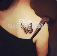 2014 Free Shipping Hot Selling 3D Butterfly Tattoo Sticker Waterproof In Stock GF678