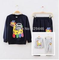 Free shipping autumn 2014 new Children's clothing set sweater+pant fashion boys girls clothes kids set retail