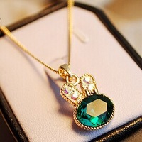 Min.order is $5 (mix order) Free Shipping Hot Sale Lovely green full rhinestone rabbit crystal Necklace (ON0270)