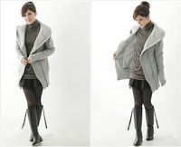 2014 New fleece thicken warm hooded jacket hoodies coat outwear for winter and autumn Lightgray Free size