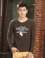 2014 new autumn and winter high-grade cotton men's t-shirt cotton long -sleeved t-shirt men and a generation of fat