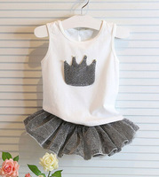 free shipping 2014 hot Summer clothes  female baby short suit tshirt+dress set NO BB8