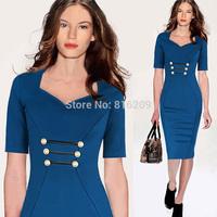 Dropshipping 2014 Newest Women Classic Blue Elegant V-Neck Button Bodycon Stretchy Cotton Blend Knee-Length Pencil Dresses S-XXL