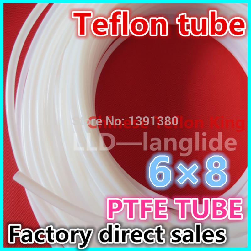 10M Free Shipping PTFE tube,PTFE tubing,PTFE hose,Teflon Tube,teflon tubing ozone,ID6mm,OD8 mm,6*8mm(China (Mainland))