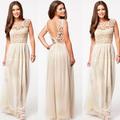 ساخنة جديدة بيع 2014 بيضاء بلا أكمام المرأة الصيف فستان ماكسي الشيفون الأعلى ls547 الكروشيه مثير