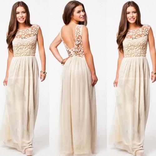 2014 new Hot Sell Women Summer Sleeveless White Top Crochet Sexy Chiffon Maxi Dress LS547(China (Mainland))