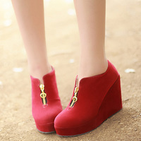 free shipping Spring and autumn  all-match single  high heel wedge platform boots fashion martin boots round toe boots