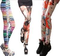 2014 women printing leggings vogue elastic vintage leggins 140D pantyhose fitness autumn winter free shipping U586