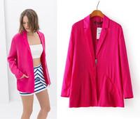 2014 Autumn New Women's Jacket coat Long-sleeve casacos femininos Blazer For Women Desigual Ladies' Casual Zippers blaser suit