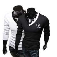 Hot Spring New R -letter Simple And Stylish Casual Men's Embroidered Long-sleeved T-shirt Men's Sports T-Shirt TX224
