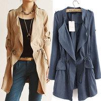 Autumn 2014 Fashion  European and American drawstring waist line windbreaker Long Outerwear Ladies Elegant Casual Tops