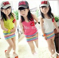 free shipping 2014 summer hot 100% cotton Vest rainbow  dress baby A-line dress NO BB10