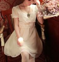 New 2014 Women Summer Dress Korean Hot Sell Chiffon Princess Dress Dot O- Neck Short Sleeve Casual Slim Dress Free Shipping 1116