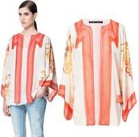 New 2014 Autumn Fashion Print Chiffon Kimono Jacket Ethnic Loose Casacos Femininos Plus Size Blazers For Women