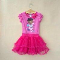 Free shipping baby clothing children girls girl DOC MCSTUFFINS short sleeves dress summer dress apparel