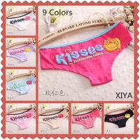 A006Hot Sale 6 PCS/lot Kisses Letter Print Cotton Panties Sexy Women's Fitness Briefs Girl's Victoria Colorful String Underwear