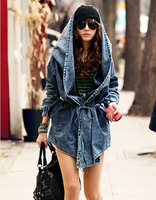 Hot ! 2014 New Fashion Women's Desigual Denim Trench Coat Hooded Outerwear JeansCoat Cardigans Overcoat Free Shipping