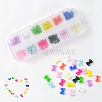 60pcs Mix Color 3D Glitters Bow Tie Nail Stickers Bowtie Acrylic Slices Nail decals Rhinestones Nail Art Tips DIY B18